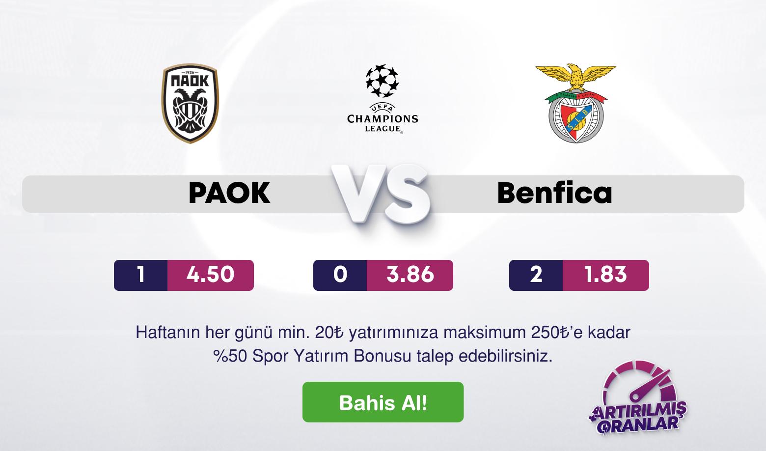 PAOK- Benfica Canlı Maç izle